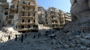 Syria crisis: 'Barrel bomb strikes kill 72' in Aleppo province