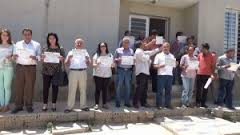 A sit-in in front of Amouda city Office Yekiti Kurdish condemn the Arab belt: