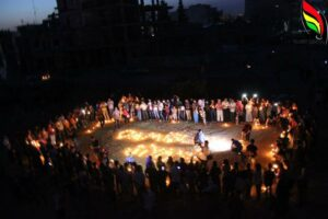 Candles lighting in place of Qamishlo bombing to martyrs commemorate